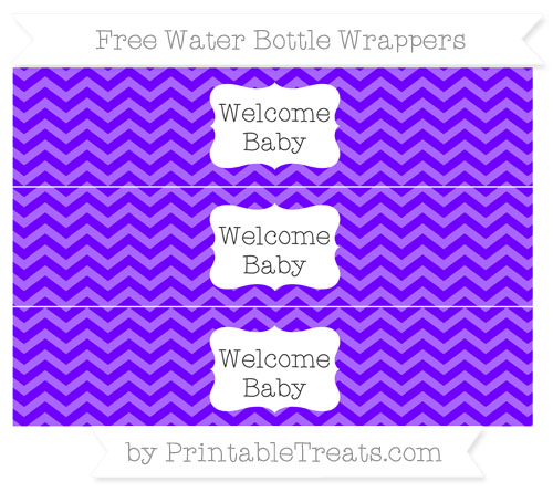 Free Indigo Chevron Welcome Baby Water Bottle Wrappers