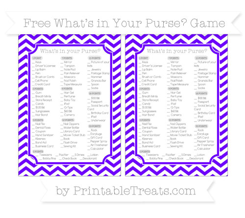 Free Indigo Chevron What's in Your Purse Baby Shower Game