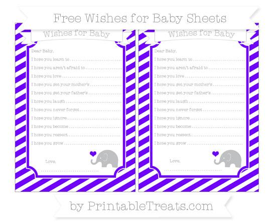 Free Indigo Diagonal Striped Baby Elephant Wishes for Baby Sheets