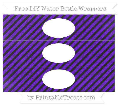 Free Indigo Diagonal Striped Chalk Style DIY Water Bottle Wrappers