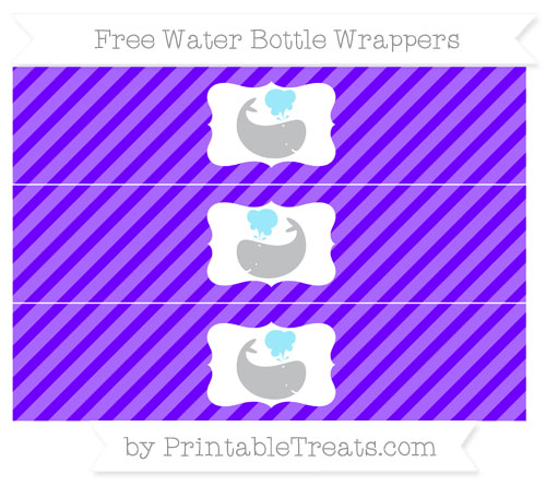 Free Indigo Diagonal Striped Whale Water Bottle Wrappers