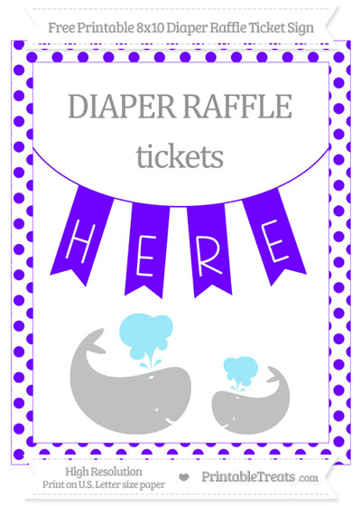 Free Indigo Dotted Baby Whale 8x10 Diaper Raffle Ticket Sign