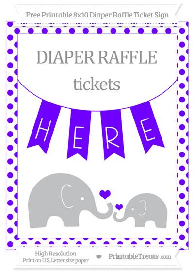 Free Indigo Dotted Elephant 8x10 Diaper Raffle Ticket Sign