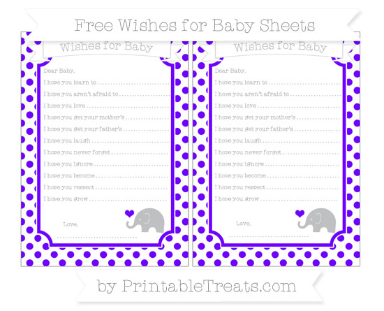 Free Indigo Dotted Pattern Baby Elephant Wishes for Baby Sheets