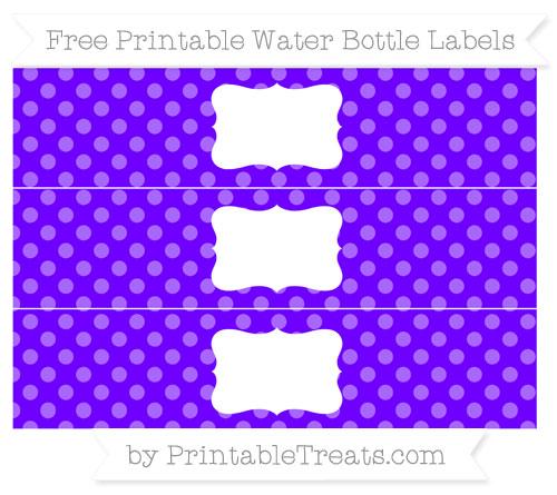Free Indigo Dotted Pattern Water Bottle Labels