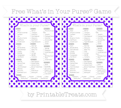 Free Indigo Dotted Pattern What's in Your Purse Baby Shower Game