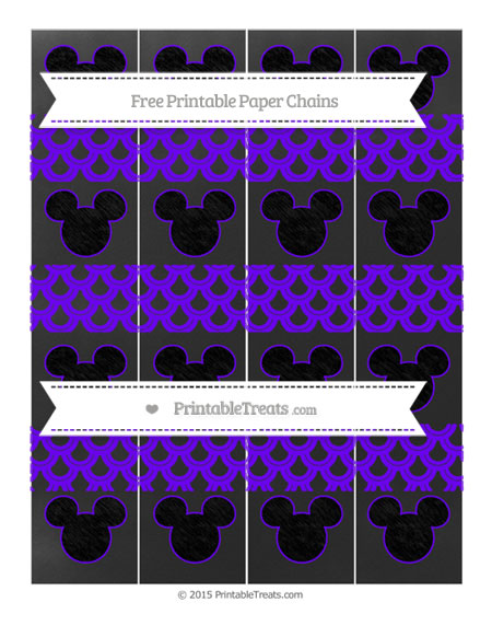 Free Indigo Fish Scale Pattern Chalk Style Mickey Mouse Paper Chains