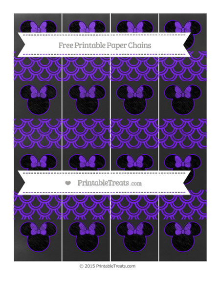 Free Indigo Fish Scale Pattern Chalk Style Minnie Mouse Paper Chains