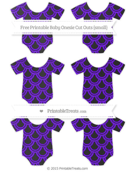 Free Indigo Fish Scale Pattern Chalk Style Small Baby Onesie Cut Outs