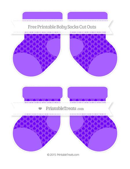 Free Indigo Fish Scale Pattern Medium Baby Socks Cut Outs
