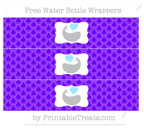 Free Indigo Fish Scale Pattern Whale Water Bottle Wrappers