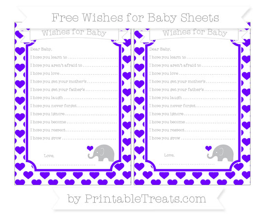 Free Indigo Heart Pattern Baby Elephant Wishes for Baby Sheets