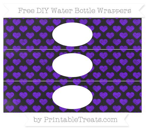 Free Indigo Heart Pattern Chalk Style DIY Water Bottle Wrappers