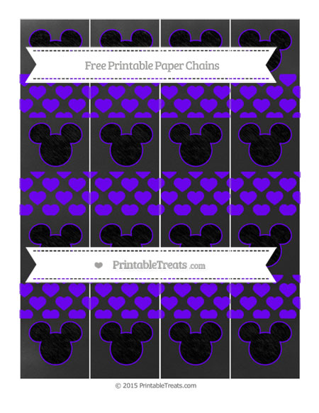 Free Indigo Heart Pattern Chalk Style Mickey Mouse Paper Chains