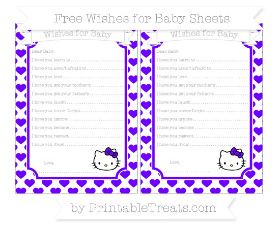 Free Indigo Heart Pattern Hello Kitty Wishes for Baby Sheets