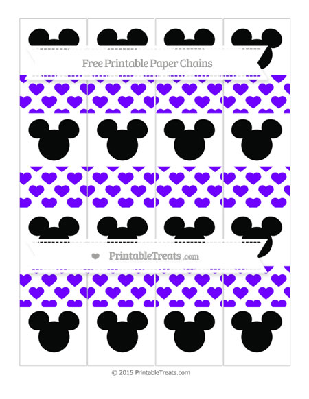 Free Indigo Heart Pattern Mickey Mouse Paper Chains
