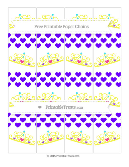 Free Indigo Heart Pattern Princess Tiara Paper Chains