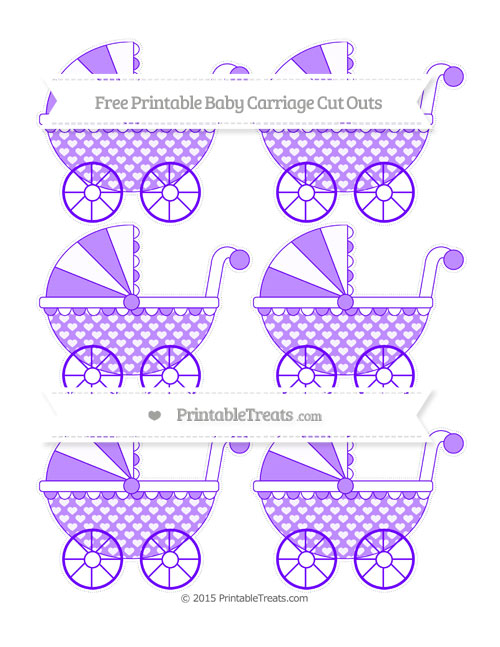 Free Indigo Heart Pattern Small Baby Carriage Cut Outs