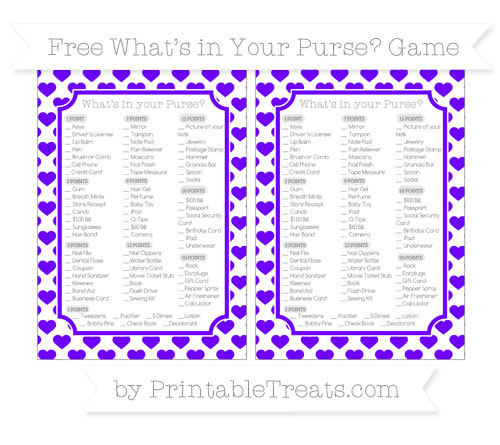Free Indigo Heart Pattern What's in Your Purse Baby Shower Game