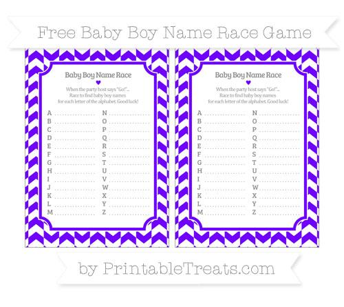 Free Indigo Herringbone Pattern Baby Boy Name Race Game