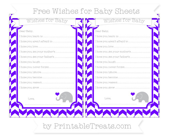 Free Indigo Herringbone Pattern Baby Elephant Wishes for Baby Sheets