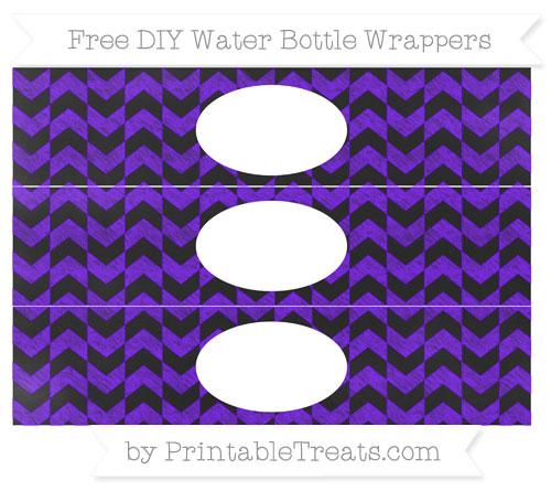 Free Indigo Herringbone Pattern Chalk Style DIY Water Bottle Wrappers