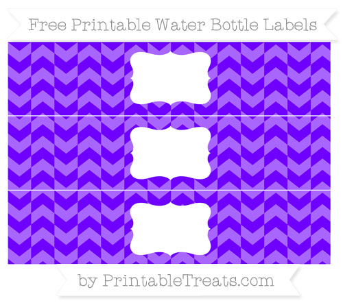 Free Indigo Herringbone Pattern Water Bottle Labels