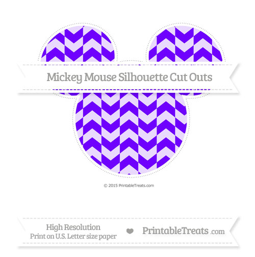 Free Indigo Herringbone Pattern Extra Large Mickey Mouse Silhouette Cut Outs