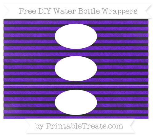 Free Indigo Horizontal Striped Chalk Style DIY Water Bottle Wrappers