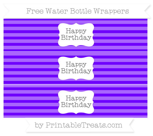 Free Indigo Horizontal Striped Happy Birhtday Water Bottle Wrappers