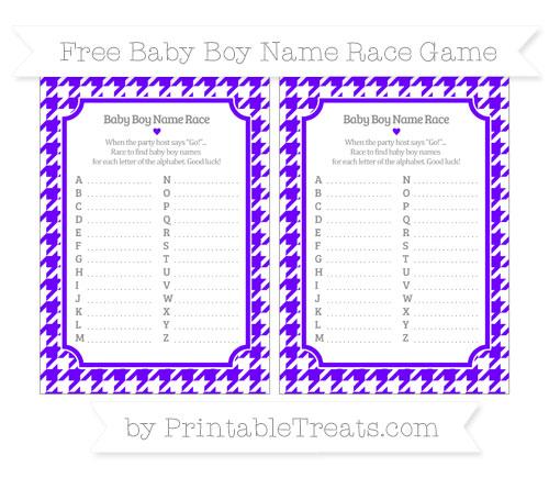 Free Indigo  Houndstooth Pattern Baby Boy Name Race Game