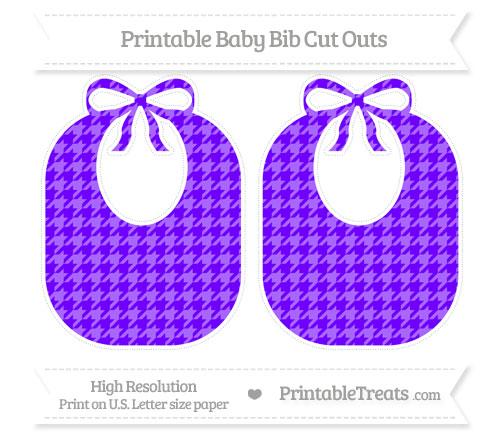 Free Indigo  Houndstooth Pattern Large Baby Bib Cut Outs