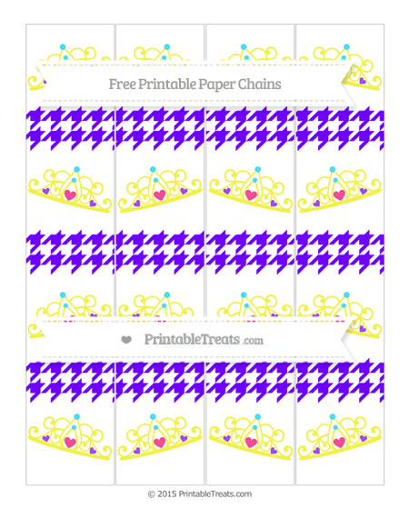 Free Indigo  Houndstooth Pattern Princess Tiara Paper Chains