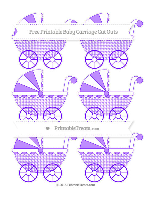 Free Indigo  Houndstooth Pattern Small Baby Carriage Cut Outs
