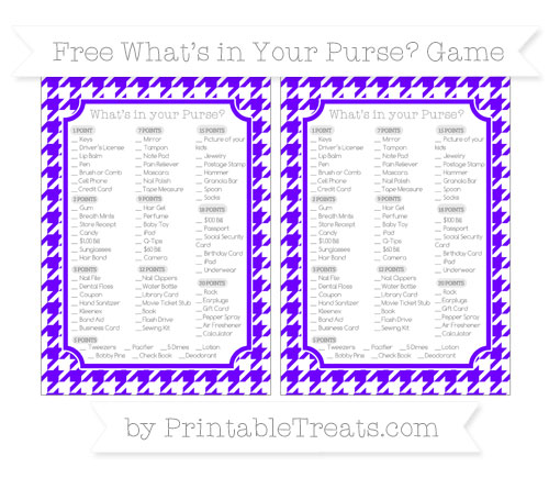 Free Indigo  Houndstooth Pattern What's in Your Purse Baby Shower Game