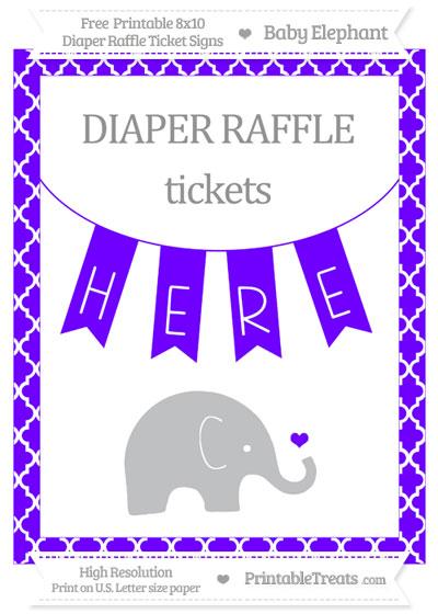 Free Indigo Moroccan Tile Baby Elephant 8x10 Diaper Raffle Ticket Sign