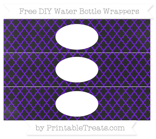 Free Indigo Moroccan Tile Chalk Style DIY Water Bottle Wrappers