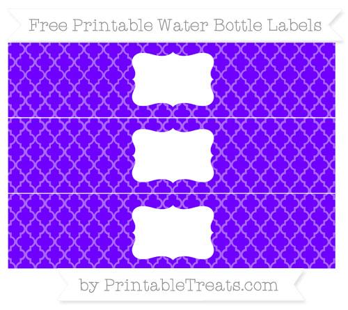 Free Indigo Moroccan Tile Water Bottle Labels