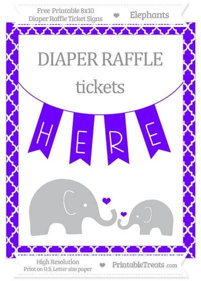 Free Indigo Moroccan Tile Elephant 8x10 Diaper Raffle Ticket Sign