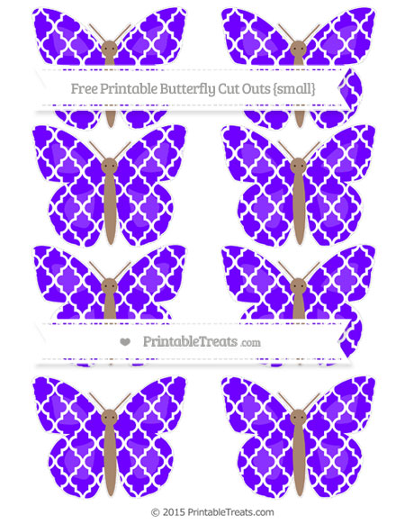 Free Indigo Moroccan Tile Small Butterfly Cut Outs