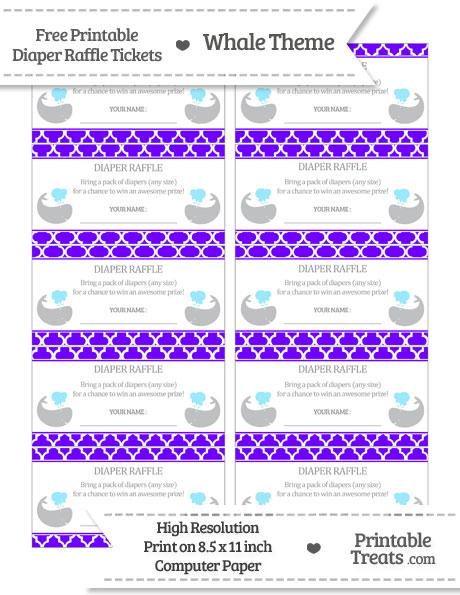 Free Indigo Moroccan Tile Whale Diaper Raffle Tickets