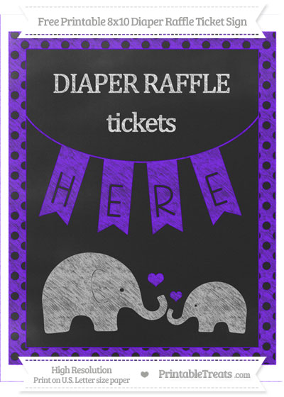 Free Indigo Polka Dot Chalk Style Elephant 8x10 Diaper Raffle Ticket Sign
