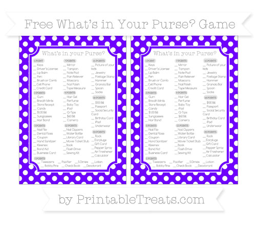 Free Indigo Polka Dot What's in Your Purse Baby Shower Game