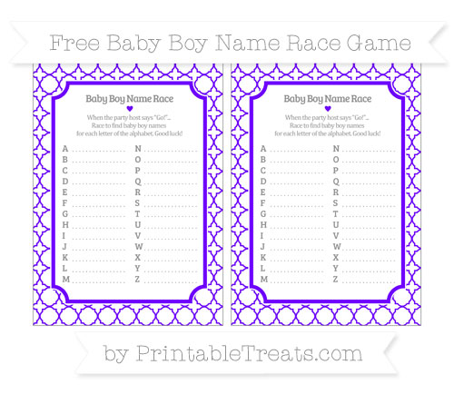 Free Indigo Quatrefoil Pattern Baby Boy Name Race Game