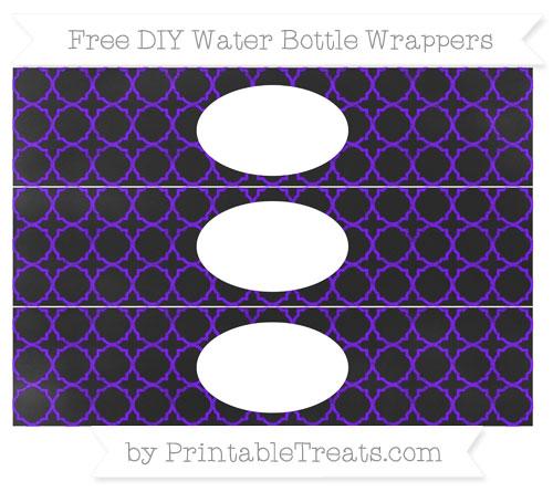 Free Indigo Quatrefoil Pattern Chalk Style DIY Water Bottle Wrappers