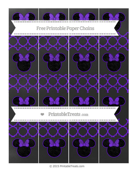Free Indigo Quatrefoil Pattern Chalk Style Minnie Mouse Paper Chains