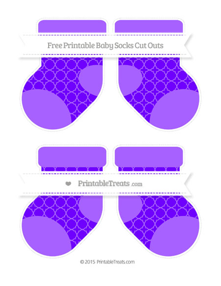 Free Indigo Quatrefoil Pattern Medium Baby Socks Cut Outs