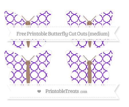 Free Indigo Quatrefoil Pattern Medium Butterfly Cut Outs