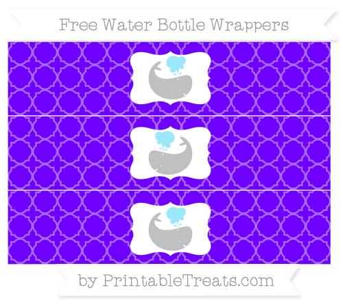 Free Indigo Quatrefoil Pattern Whale Water Bottle Wrappers