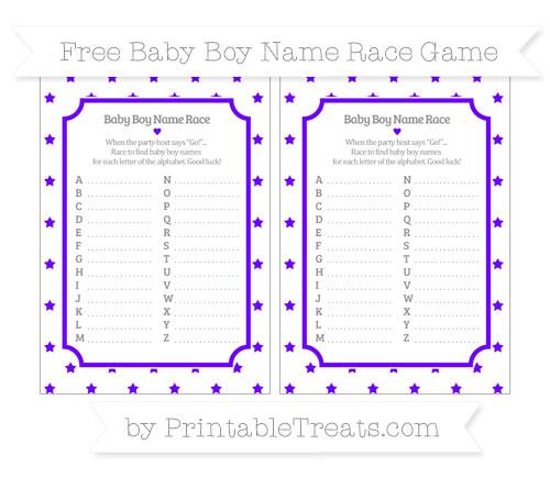 Free Indigo Star Pattern Baby Boy Name Race Game